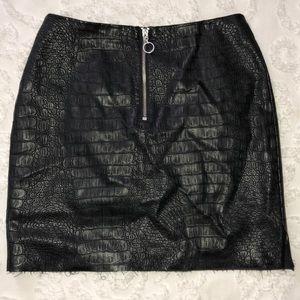 Faux crocodile leather mini skirt